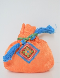 Orange Embroidered Coin Purse (Small)
