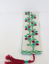 Embroidered Bookmark in Floral Green