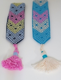 Simple Embroidered Bookmarks: Navy and Blue